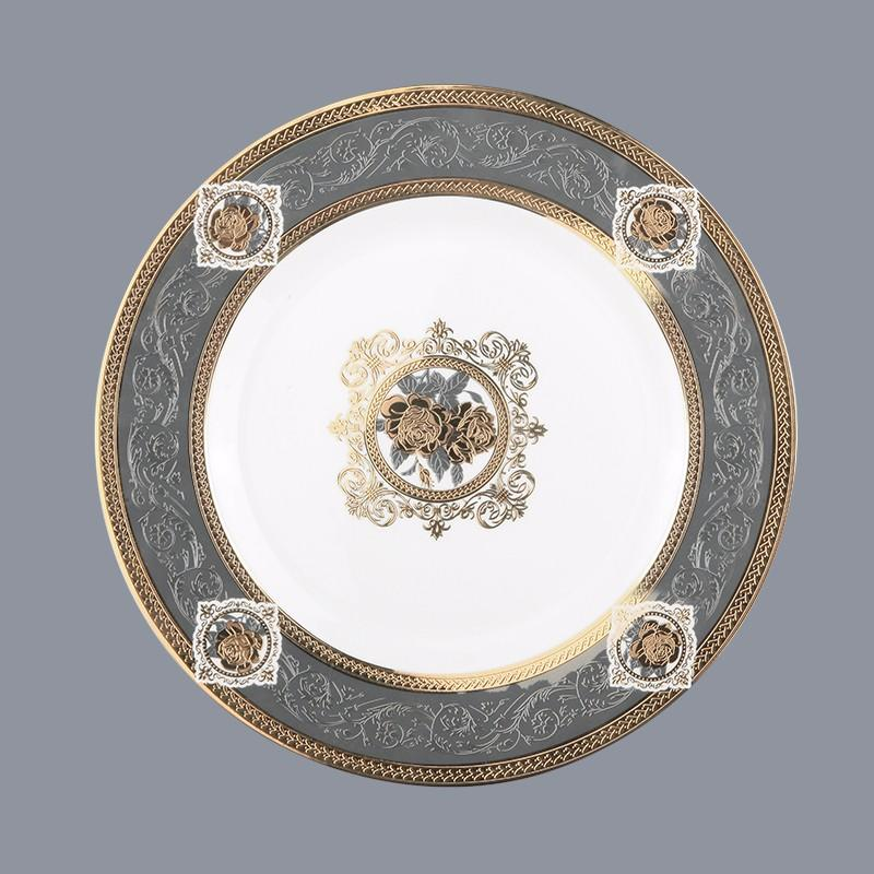 Two Eight Brand rim mixed gold fine white porcelain dinnerware