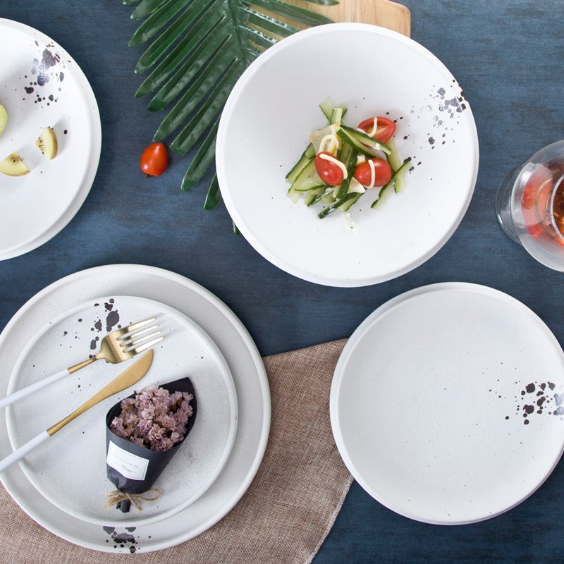 Two Eight Classic & White Color Modern Style Ceramic Dinner Set - SHI TOU BAI SERIES Colored Porcelain Dinner Set image3