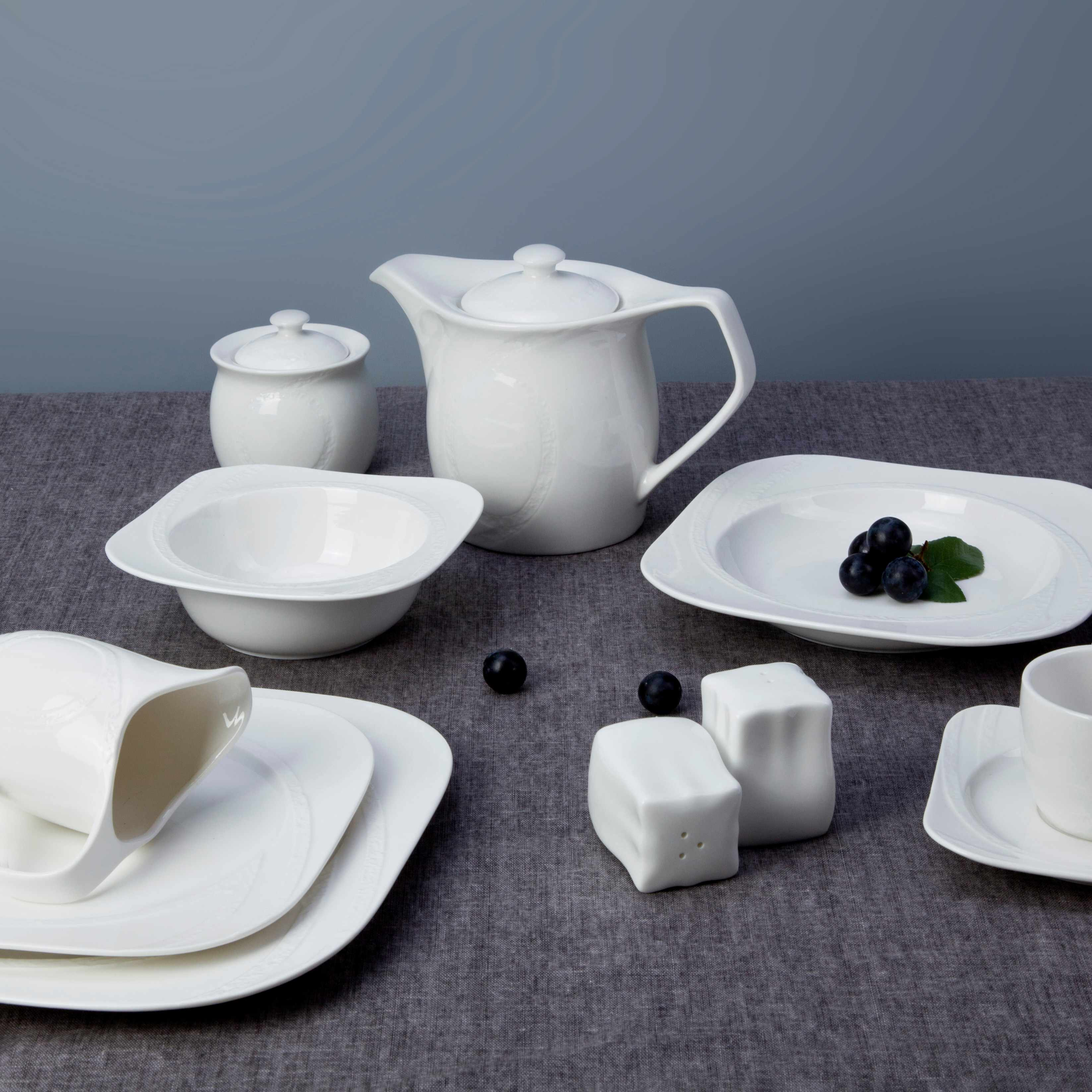 Two Eight White ceramic dinnerware set - JIN SUO TU WEN SERIES White Porcelain Dinner Set image12