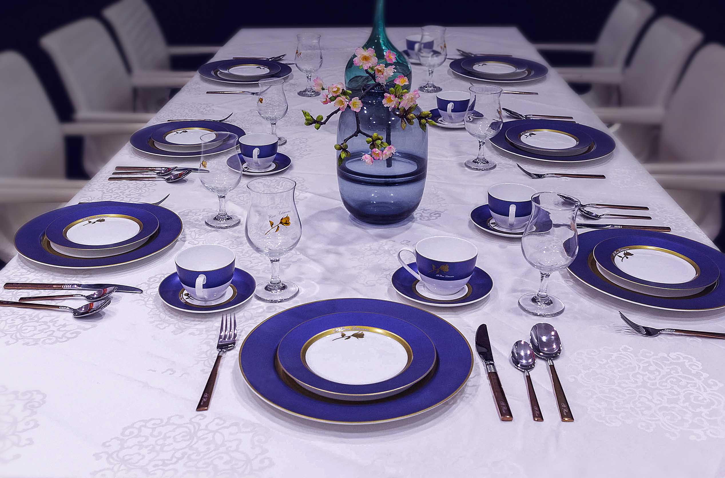 Two Eight-The Story of Gold Rose With Blue Rim on the ceramic dinnerware set - dinnerware designing-7