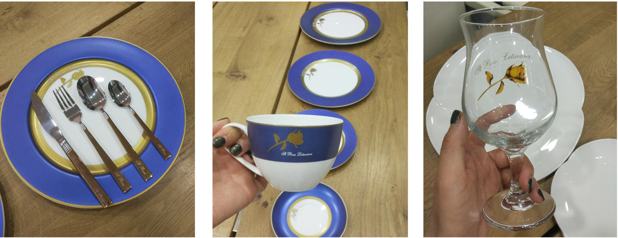 Two Eight-The Story of Gold Rose With Blue Rim on the ceramic dinnerware set - dinnerware designing-8