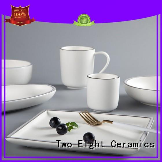 Two Eight square fine dining restaurant plates embossed for kitchen