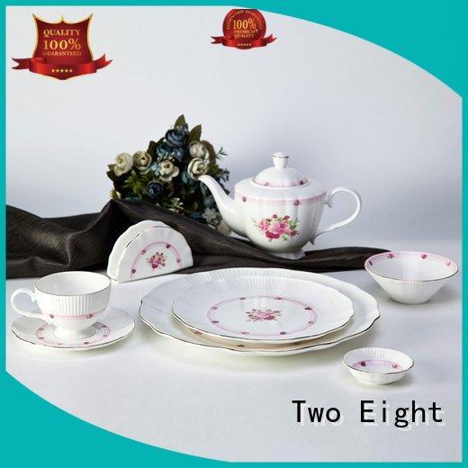Two Eight Brand fashion silver italian fine white porcelain dinnerware