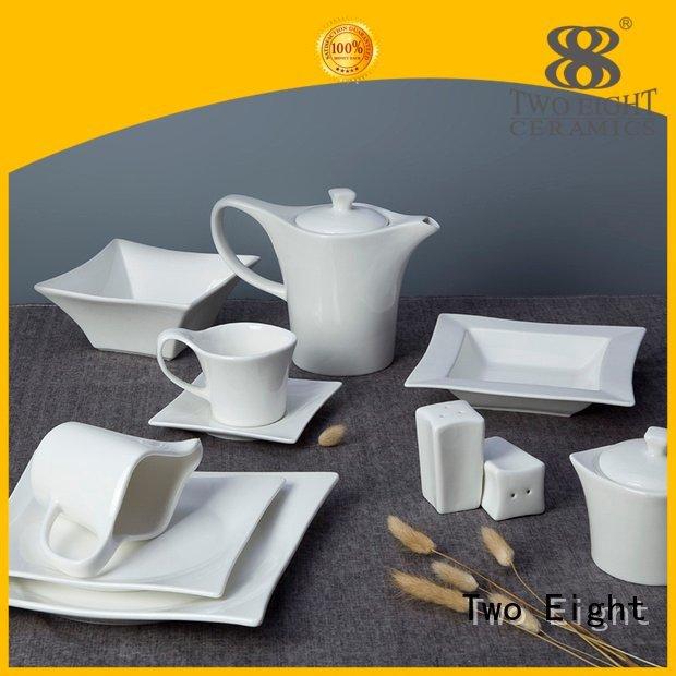 Wholesale rim glaze white dinner sets Two Eight Brand