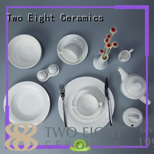 Two Eight round white porcelain dish set directly sale for home