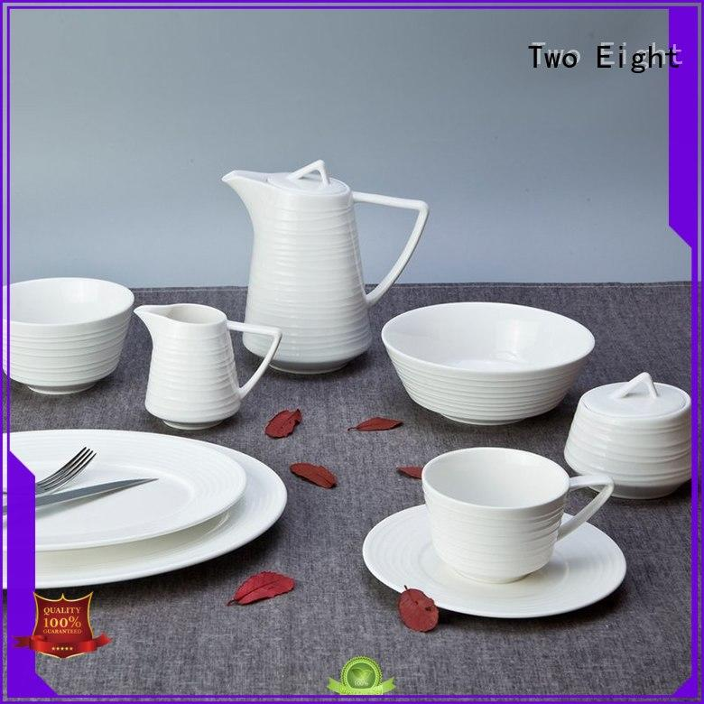 Two Eight rim white porcelain platter customized for hotel