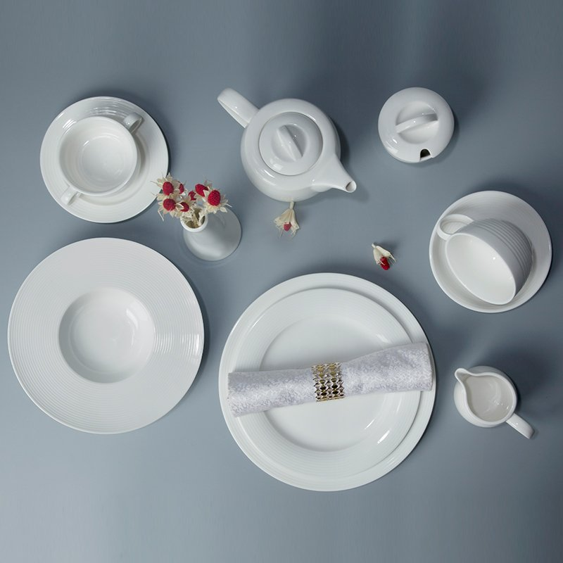 Two Eight French Style Embossed White Color Porcelain Dinnerware Sets - LOU TI SERIES White Porcelain Dinner Set image31