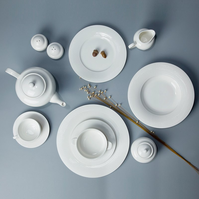 Two Eight Contemporary Sample Style Round White Porcelain Dinner Set - WANG GE SERIES White Porcelain Dinner Set image29