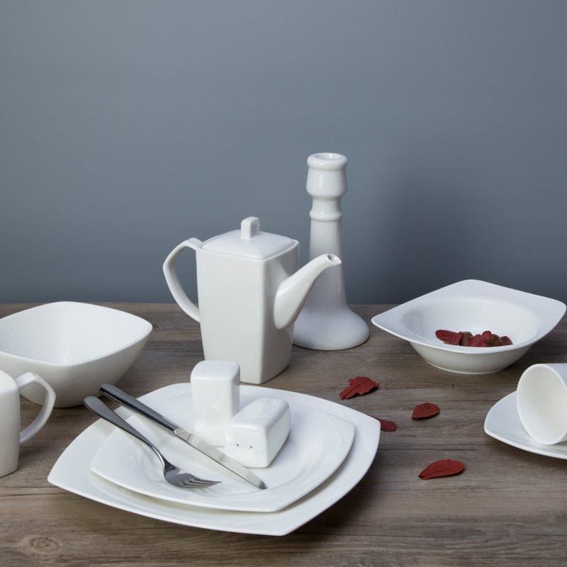 Two Eight Casual Modern Square White Porcelain Dish Set for Hotel - HU BIAN SERIES White Porcelain Dinner Set image27