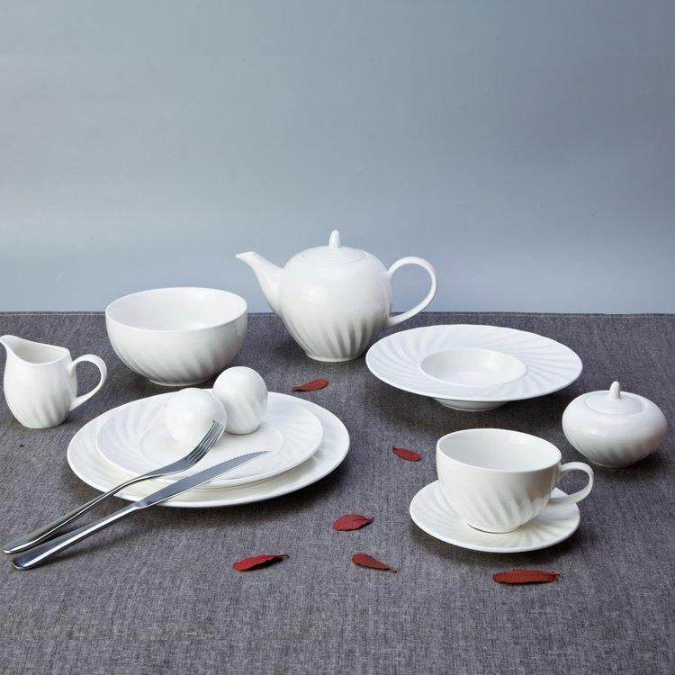 Fashion Style Round White Embossed Porcelain Dinner Set for Home - TW06