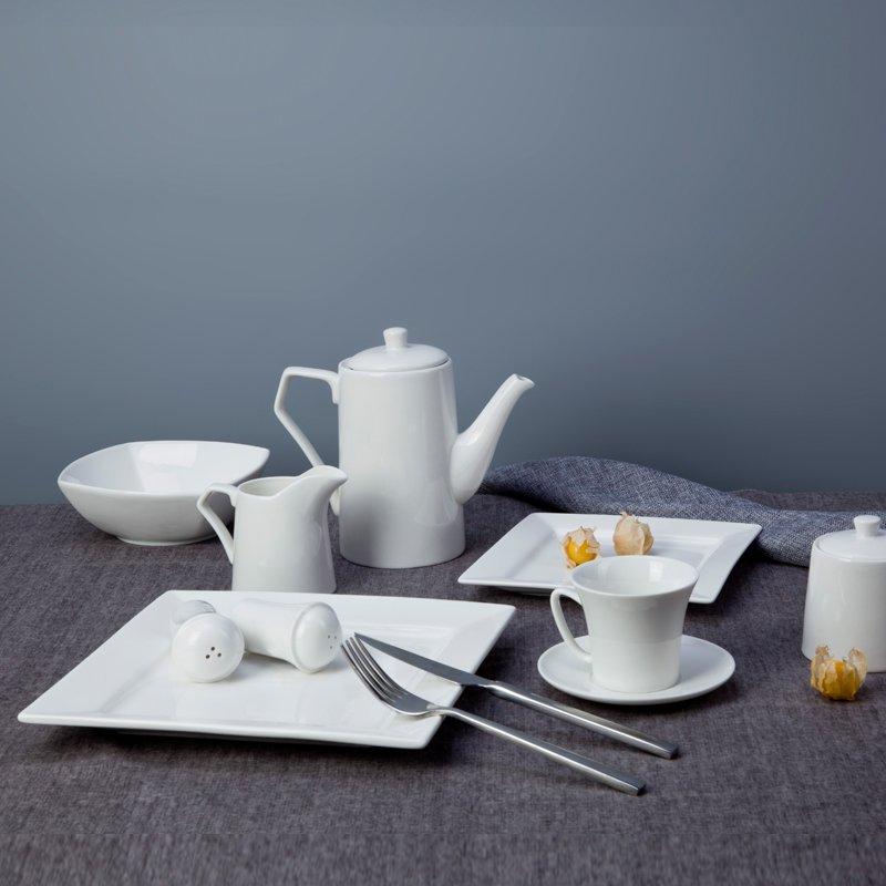 Two Eight Open Stock Italian Style White Ceramic Dinnerware Sets for Restaurant - SI FANG SERIES White Porcelain Dinner Set image25