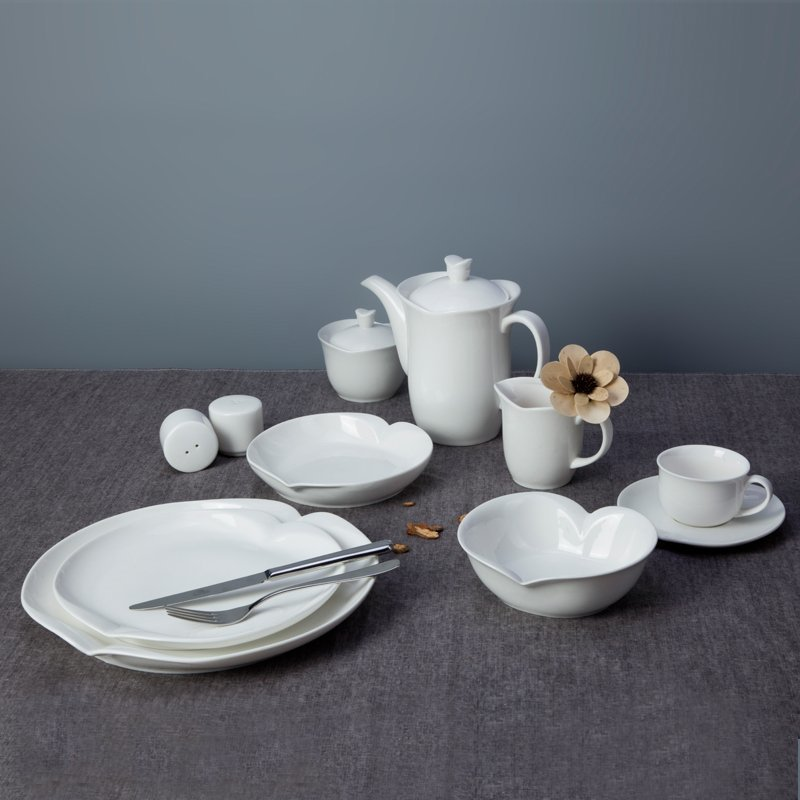New Style Irregular Rim White Ceramic Dinner Set for Hotel - TW08