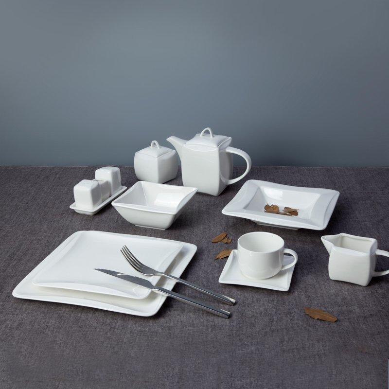 French Style Square White Porcelain Dinnerware Sets for Bistro  - TW09