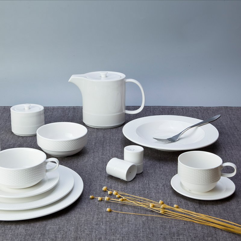 Two Eight Vietnamese Style Embossed Round White Porcelain Dish Set For Hotel - XI YA TU SERIES White Porcelain Dinner Set image20