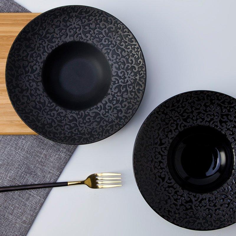 Open Stock Black And White Color Porcelain Dinner Set for Kitchen- TC01