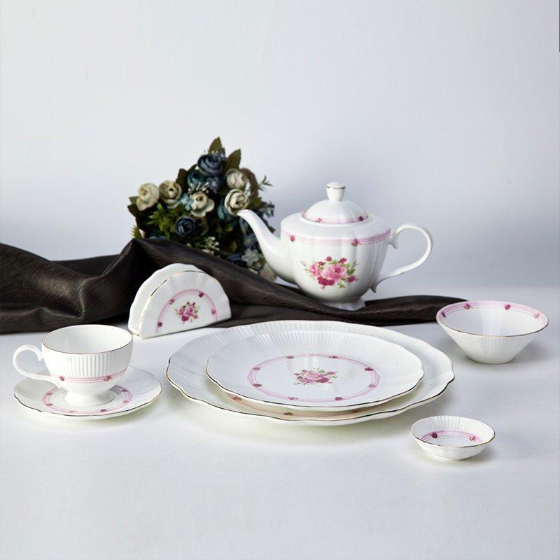 Fresh Style Round Fine Bone china Dinnerware with Flower And Silver Rim - TD17