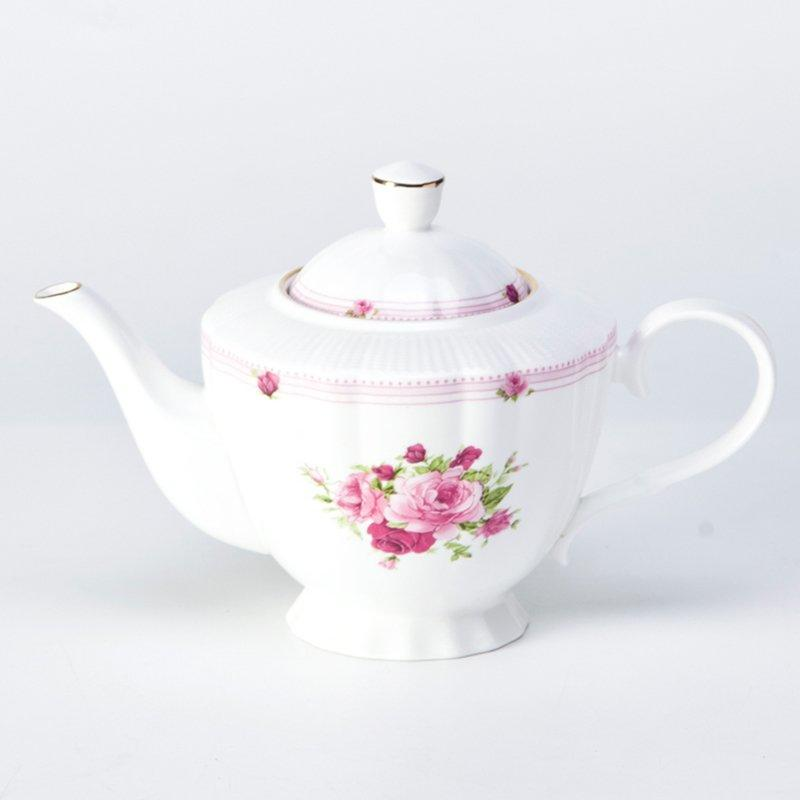 Fresh Style Round Fine Bone china Dinnerware with Flower And Silver Rim - TD17
