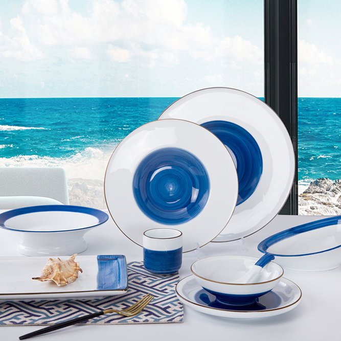 Two Eight Navy Blue & White Color Italian Style Bone china Dinner Set With Brown Rim - RI BEN LAN SERIES Colored Porcelain Dinner Set image17