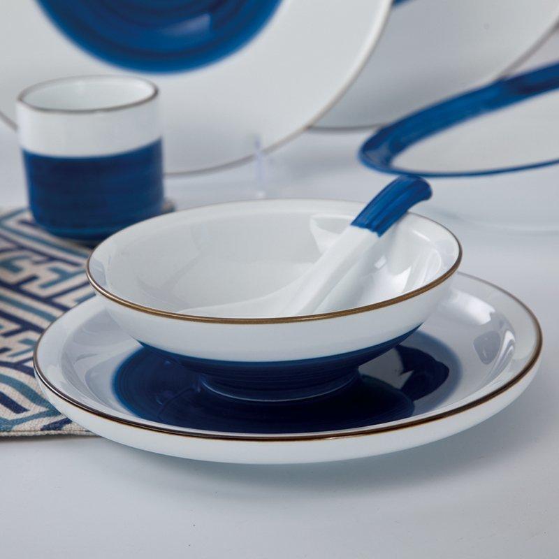 Navy Blue & White Color Italian Style Bone china Dinner Set - TC20
