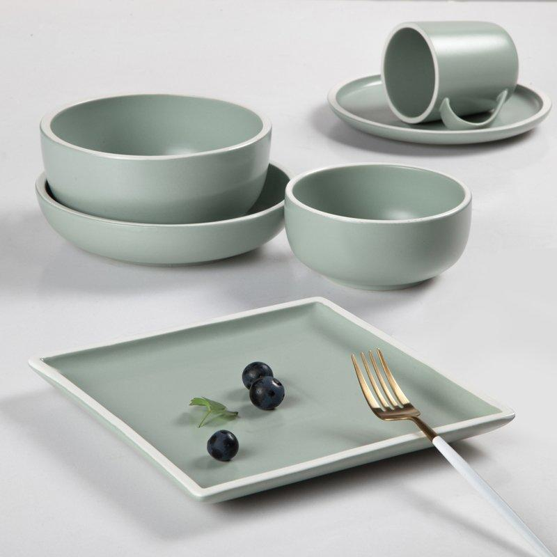 Contemporary Style Jade Green Color Porcelain Dinner Set With White Rim - TC08