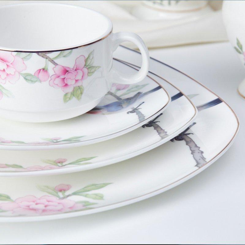 Modern Style Flower Round Porcelain Fine Bone china Dinnerware for Teahouse -  TD15