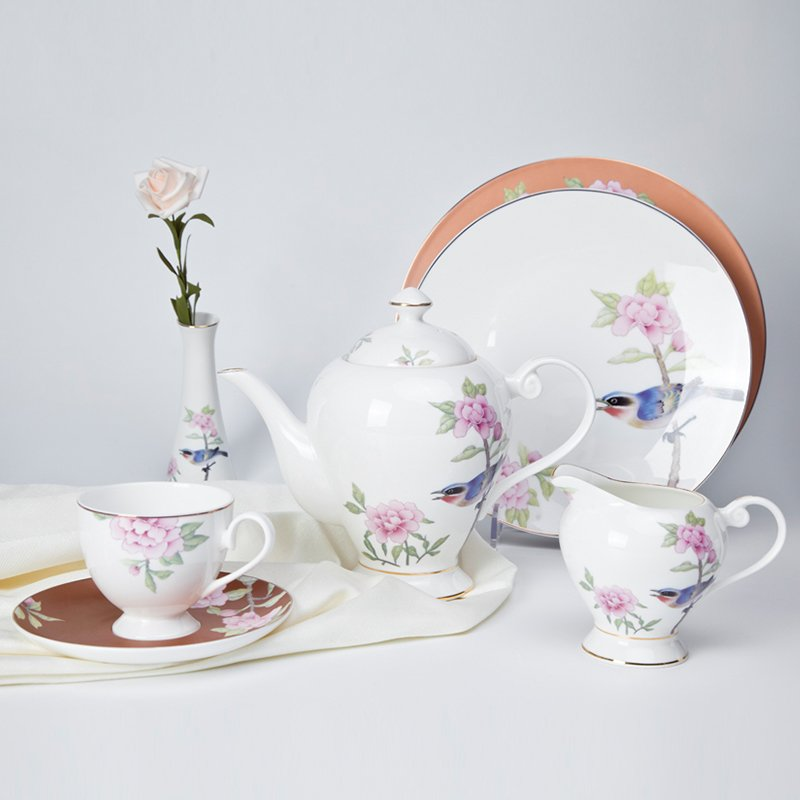 Two Eight Modern Style Flower Round Porcelain Fine Bone china Dinnerware for Teahouse -  NIAO YU HUA XIANG SERIES Fine china Dinnerware image16