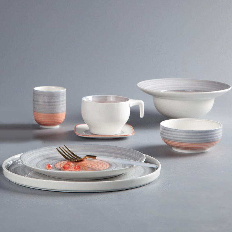 Two Eight German Style Color Porcelain Dinner Set With Embossed Line & Oragne Rim - CAI HONG SERIES 2 Colored Porcelain Dinner Set image19