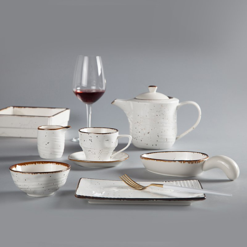 Two Eight Round Casual Style Color Porcelain Dinner Set With Brown Rim - XI SHI LIANG GUAGN SERIES Colored Porcelain Dinner Set image14