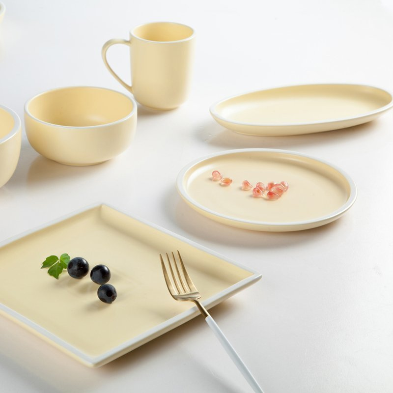Cream Yellow Simple Style Color Smoothly Glaze Porcelain Dinner Set  - TC09