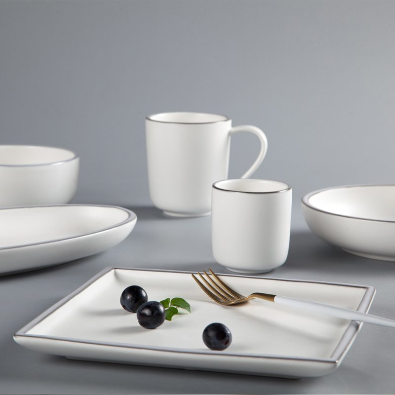 Fresh Style Color Porcelain Dinner Set With Light Golden Rim - TC11