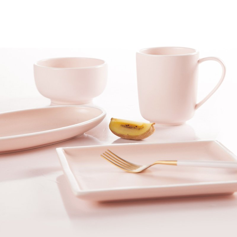 Two Eight Simple Style Smoothly Glaze Pink Color Porcelain Dinner Set  - HE PING SERIES 3 Colored Porcelain Dinner Set image10