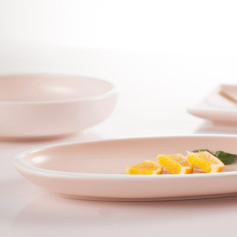 Simple Style Smoothly Glaze Pink Color Porcelain Dinner Set  - TC10