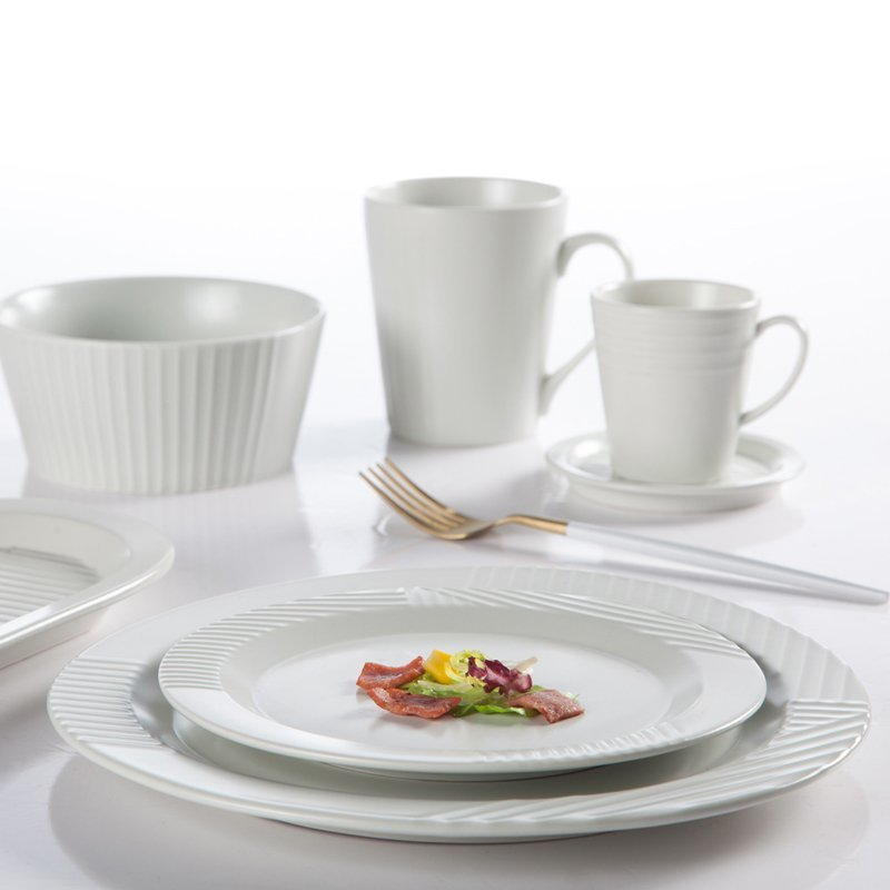 Embossed Modern Style Hotel & Restaurant Color Porcelain Dinner Set - TC13