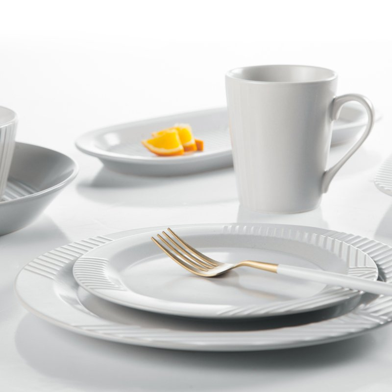 Two Eight Embossed Contemporary Round & Square Color Porcelain Dinner Set - MAI TIAN SERIES 3 Colored Porcelain Dinner Set image7