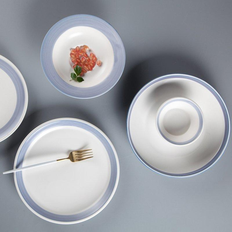 Fresh Style Round Color Porcelain Dinner Set With Light Blue Rim - TC16