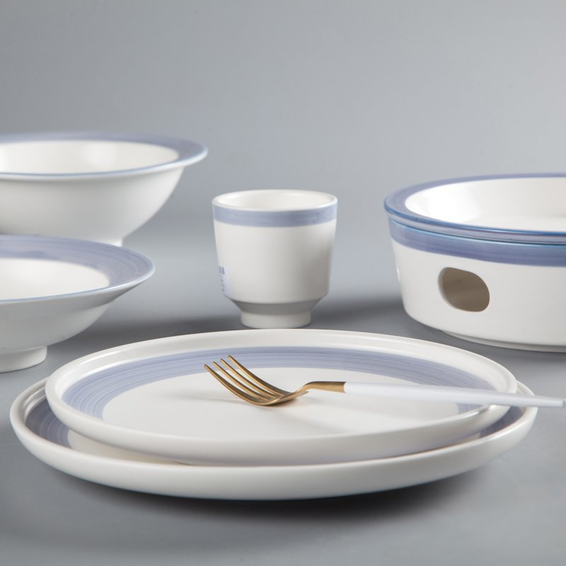 Fresh Style Round Color Porcelain Dinner Set With Light Blue Rim - TC16