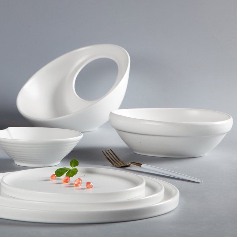 Two Eight French Irregular Embossed Color Porcelain Dinner Set - YA GUAGN BAI SERIES Colored Porcelain Dinner Set image4