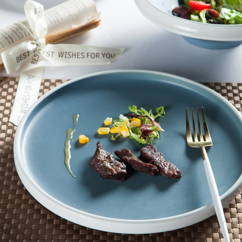 Two Eight Smooth Surface Colored Casual Round Bone china Dinner Set - YI YING SERIES Colored Porcelain Dinner Set image2