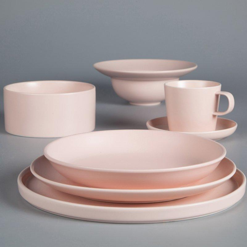 Hotel & Restaurant Solid Pink Color Porcelain Dinner Set  - TC07