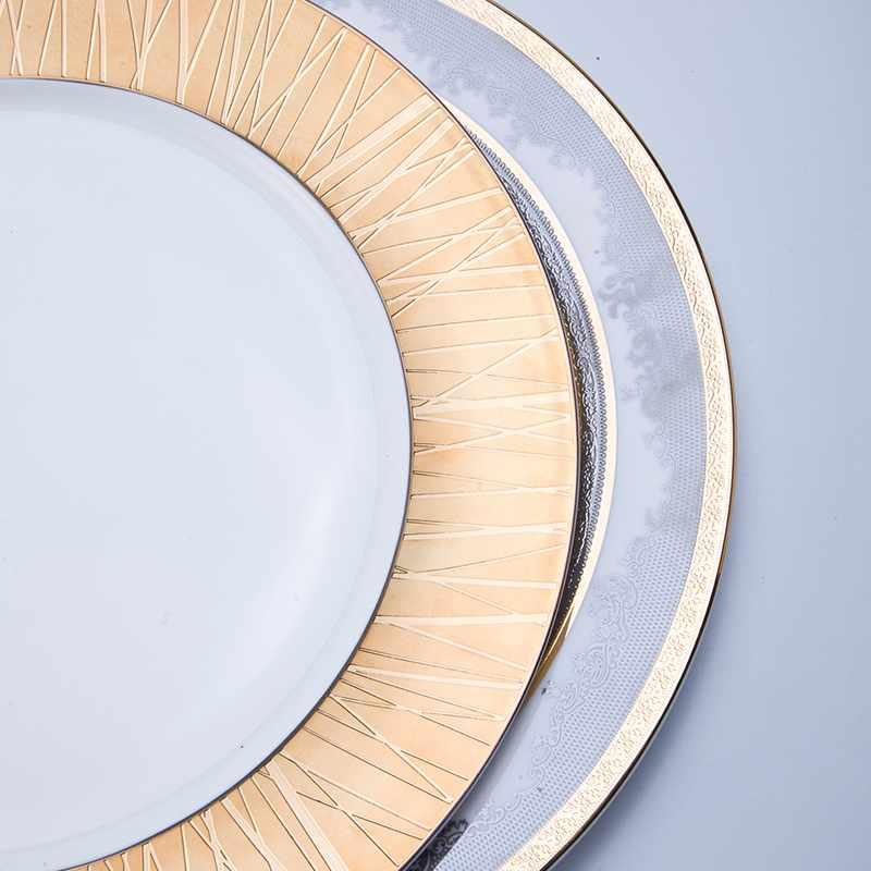 Classic Style Round Fine Ceramic Tableware with Embossed Decal for Hotel - TD14