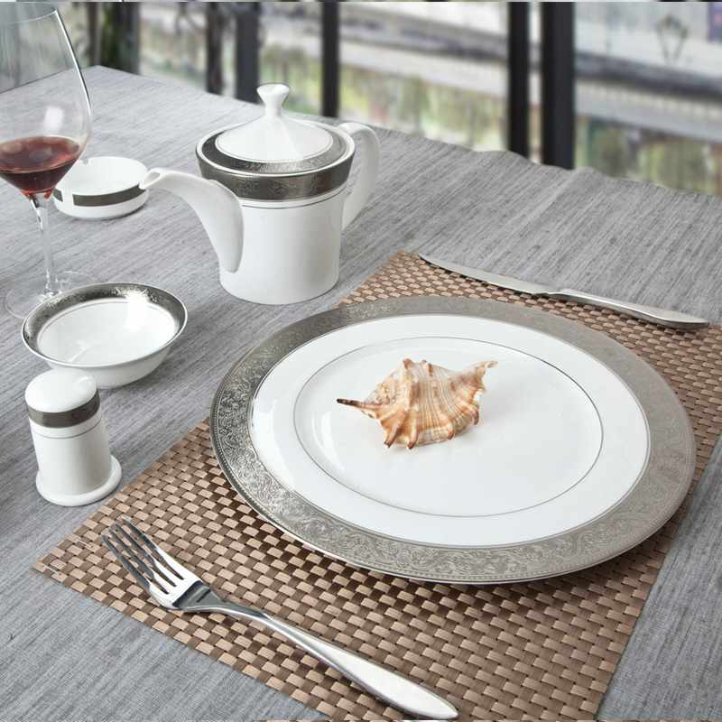 Two Eight Contemporary Style White Round Fine china Dinnerware with Silver Grey Decal - SJB-H064 SERIES Fine china Dinnerware image12