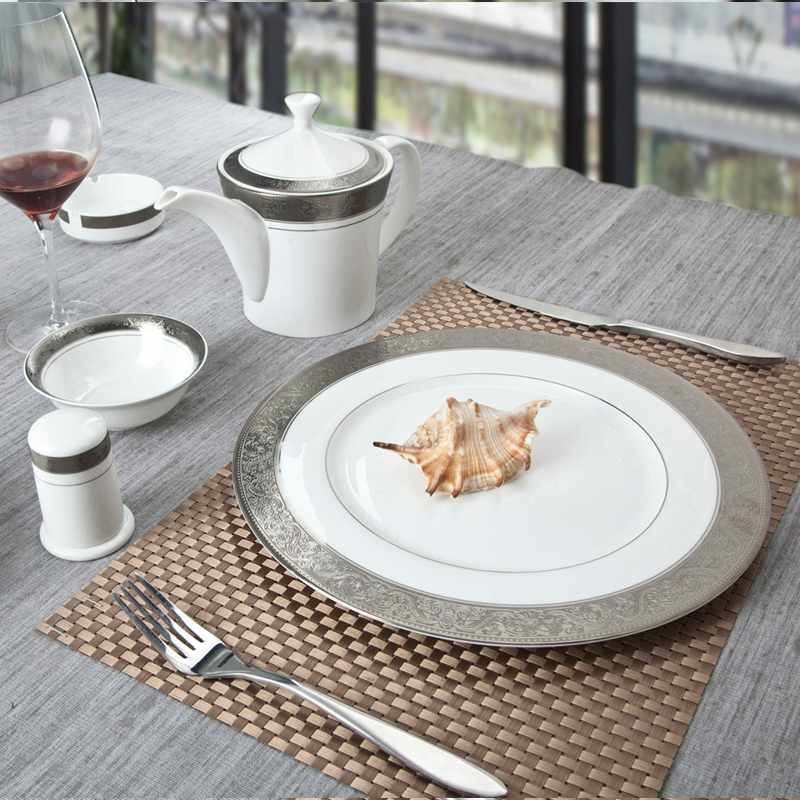 Contemporary Style White Round Fine china Dinnerware with Silver Grey Decal - TD01