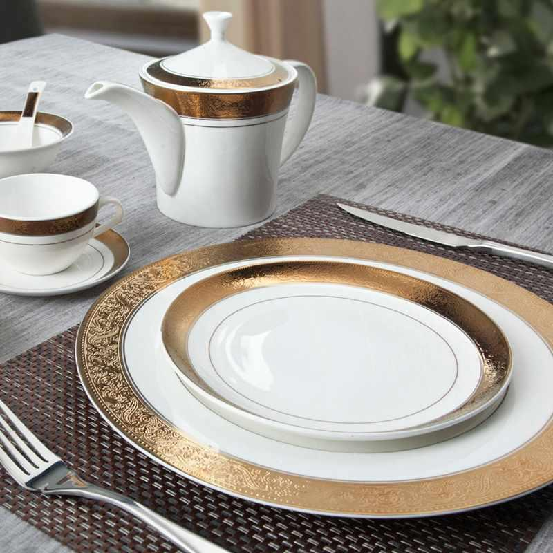 Mixed Golden And White Color Fine Bone china Dinnerware with Embossed Rim - TD02