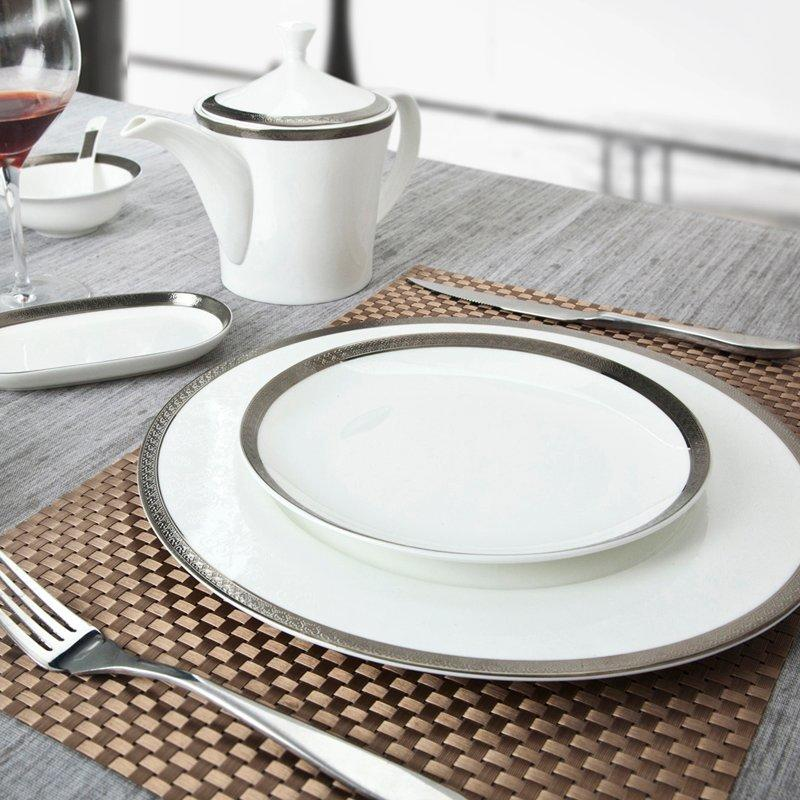 Modern Style White Round Fine Bone china Dinnerware With Silver Grey Rim - TD03