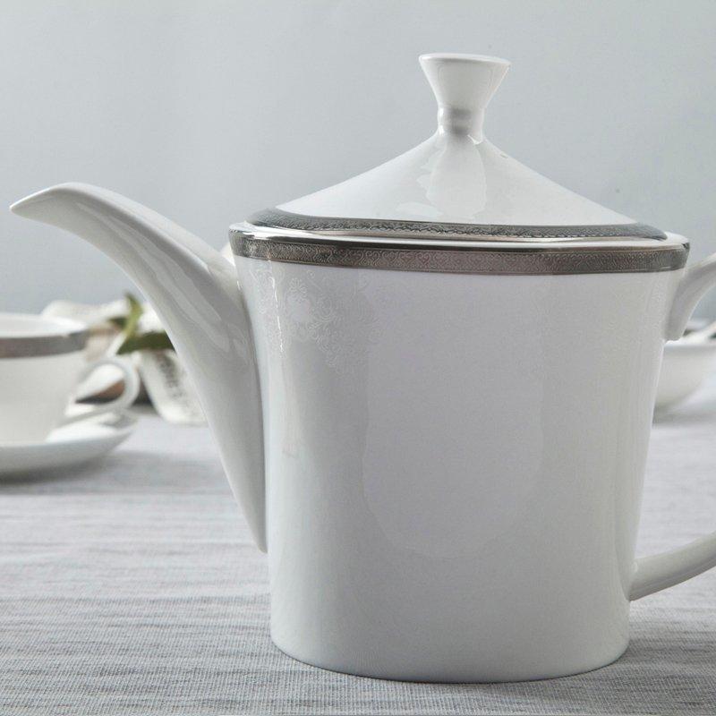 Modern Style White Round Fine Bone china Dinnerware With Silver Grey Rim - TD03