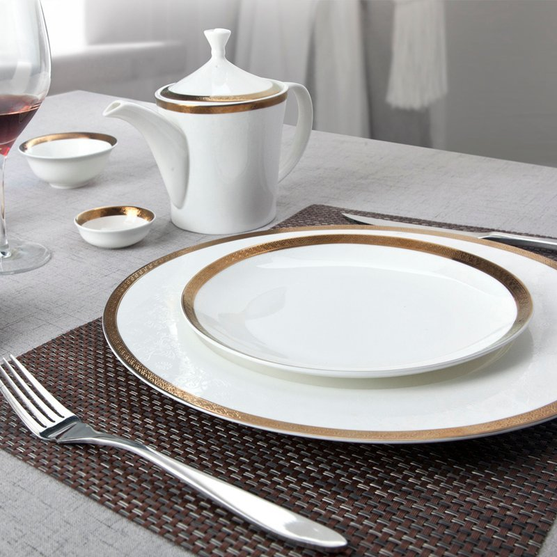 Casual Style White Fine Bone china Dinnerware With Gloden Decal Rim - TD04