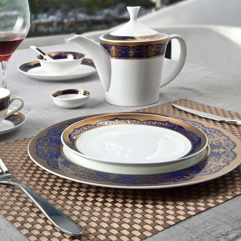 Italian Style Dark Blue Fine Bone china Dinnerware With Decal Rim - TD06