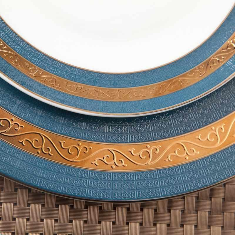 Navy Blue Fine & Golden Mixed Fine bone china Dinnerware for Hotel - TD07