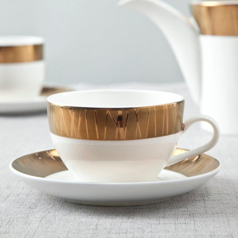 Golden And White Porcelain Fine Bone china Dinnerware With Embossed Rim - TD08