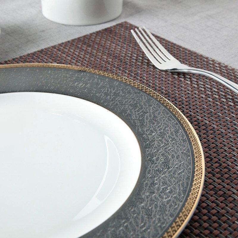 Classic Style Grey Decal Fine Bone china Dinnerware With Golden Rim - TD09
